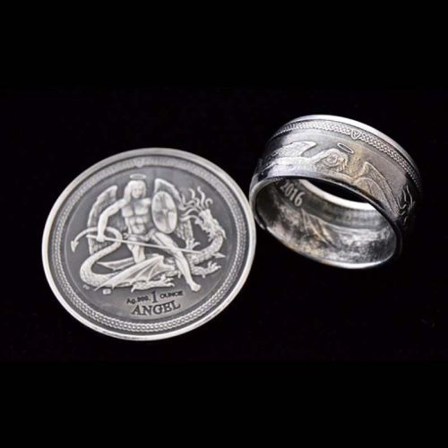 2016 Silver Isle of Man Angel Coin Ring - Jason's Works