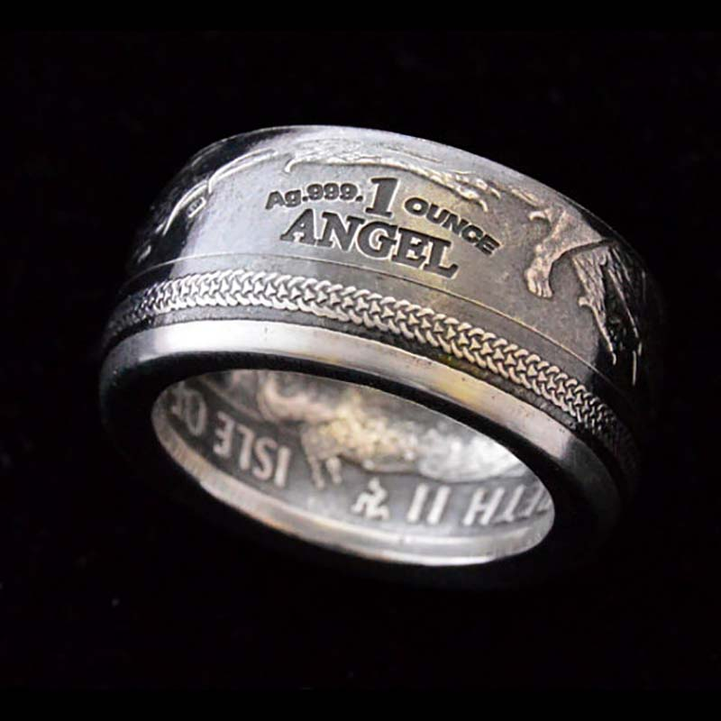 2016 Silver Isle of Man Angel Coin Ring