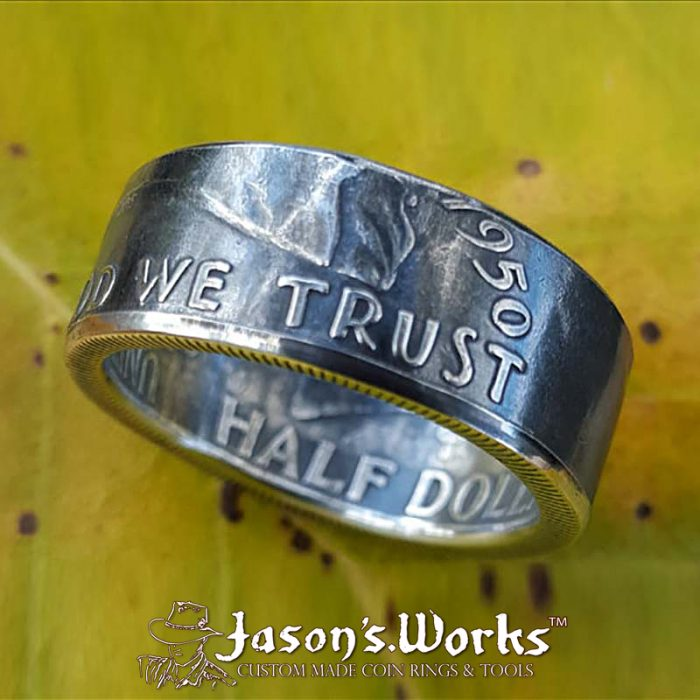 Silver USA Coin Ring Ben Franklin - Jason's Works - Custom Coin Rings Online