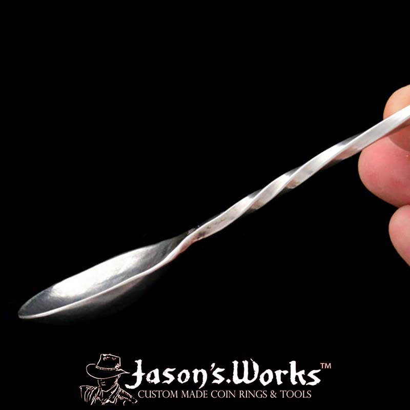Hand Forged Sterling Silver Cocktail Stirrer Spoon With Forked End