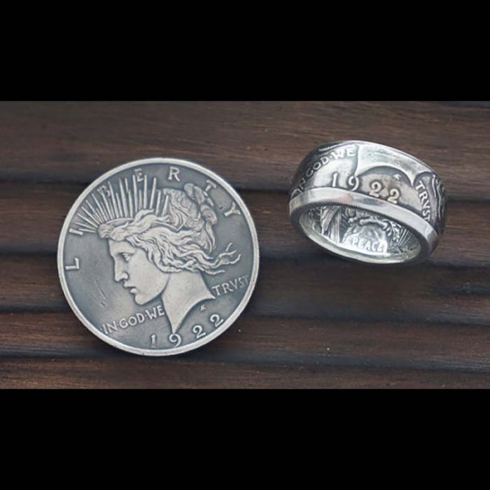 Peace Silver Dollar Coin Ring: Custom coin ring from Jason's Works made with the highest quality coin ring making tools available in the USA.