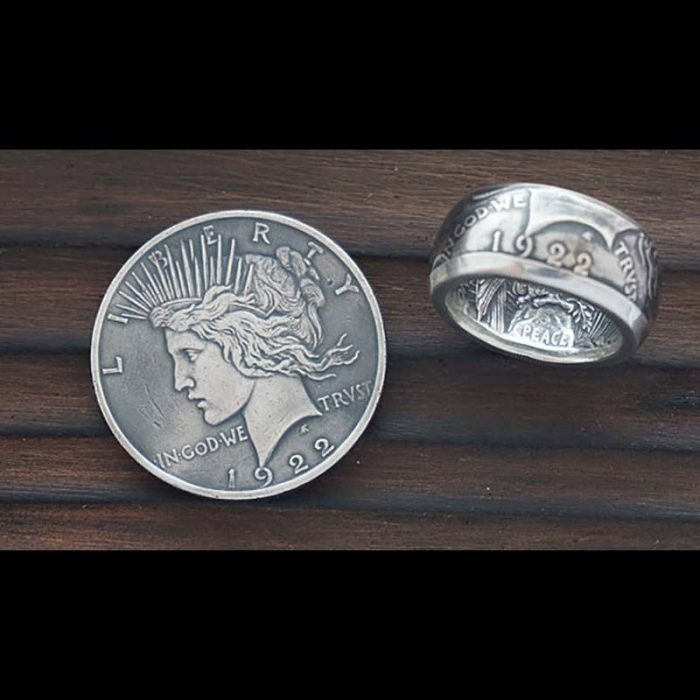 Peace Silver Dollar Coin Ring