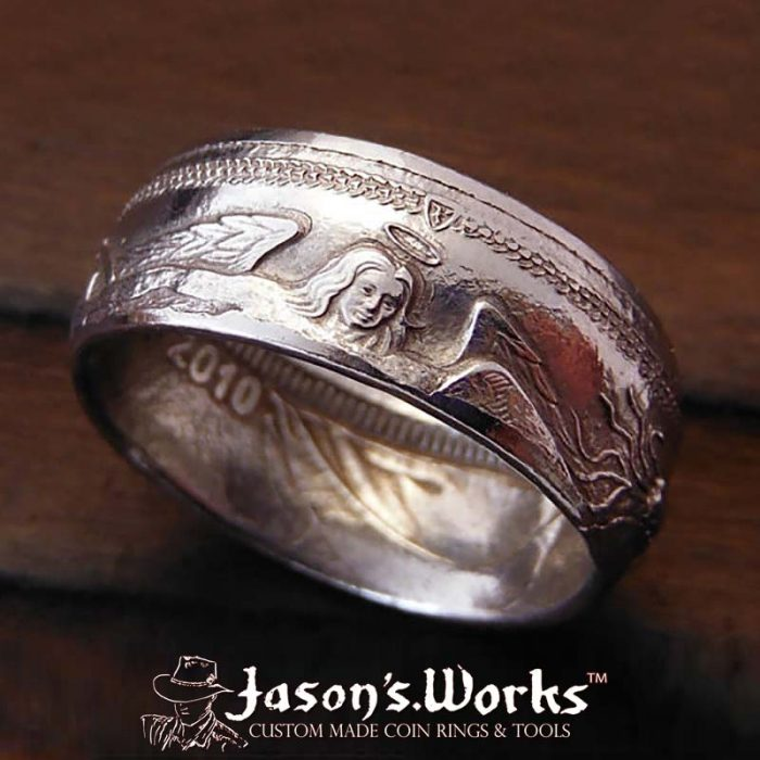 Platinum Coin Ring: Custom coin ring from Jason's Works made with the highest quality coin ring making tools available in the USA.