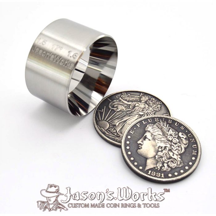 "One Reduction/Folding Die Hardened Stainless Steel for U.S. Silver Eagle sized coins 1.5"" x 1.6"" at 17 degrees"
